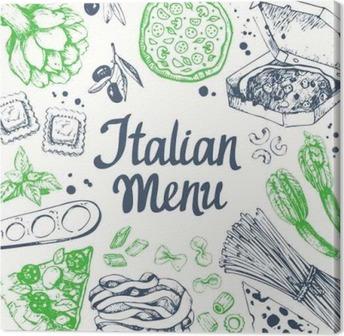 Tableau sur toile Vector illustration avec machine à pâtes, des pâtes, raviolis. Esquisse.