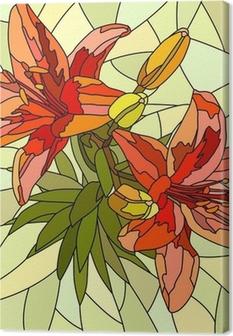 Tableau sur toile Vector illustration de lys fleur rouge.