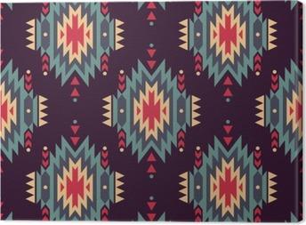 Tableau sur toile Vector seamless ethnique décoratif. motifs indiens américains. Arrière-plan avec ornement tribal aztec.