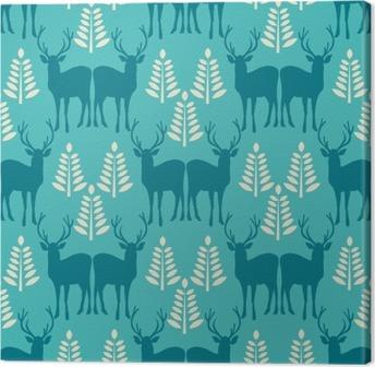 Tableau sur toile Vector seamless pattern Noël avec des cerfs.