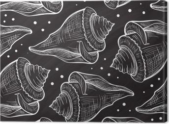 Tableau sur toile Vector Seashells pattern sur un fond de tableau