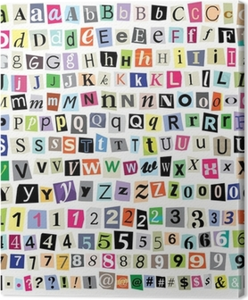 Tableau sur toile Vectorielle Ransom Letters note de papier-Cut, chiffres, symboles