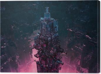 Tableau sur toile Verre TechnoCentre ville / rendu 3D de la structure de science-fiction futuriste