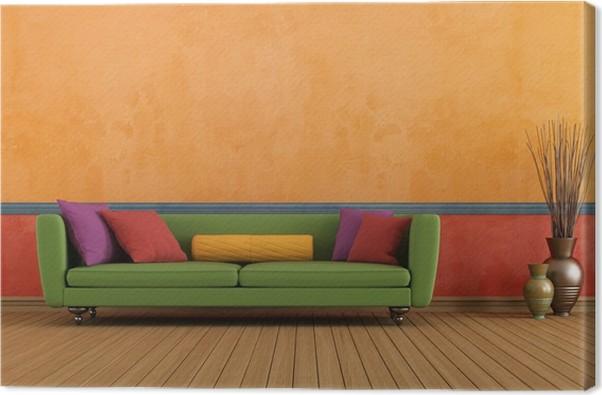Tableau sur toile Vert et rouge salon d\'orange • Pixers® - Nous ...