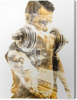 Tableau sur toile Vida saludable y deporte.Gimnasia, fitness y entrenamiento con pesas.Doble exposicion