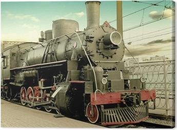 Tableau sur toile Vieille locomotive à vapeur à la gare