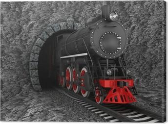 Tableau sur toile Vieille locomotive dans le tunnel