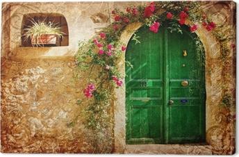 Tableau sur toile Vieilles portes grecques - rétro image de style