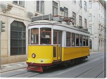 Tableau sur toile Vieux jaune tram de Lisbonne, Portugal