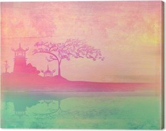 Tableau sur toile Vieux papier avec le paysage asiatique