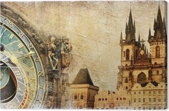 Tableau sur toile Vieux Prague - artistique carte vintage