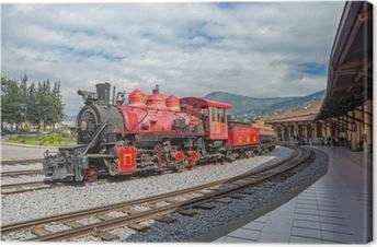 Tableau sur toile Vieux train locomotive sur une voie ferrée