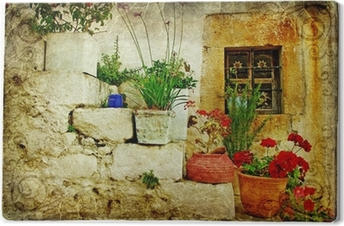 Tableau sur toile Vieux villages de Grèce - artistique de style rétro