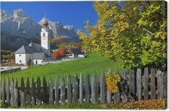 Tableau sur toile Village de Tyrol automne