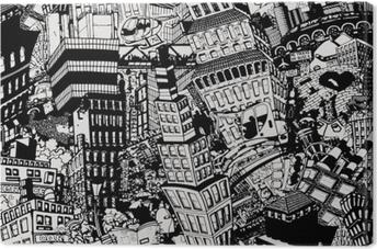 Tableau sur toile Ville, une illustration d'un grand collage, avec des maisons, des voitures et des personnes