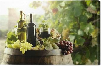 Tableau sur toile Vin avec tonneau et vignoble