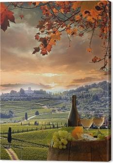 Tableau sur toile Vin blanc avec barell dans le vignoble, le Chianti, en Toscane, Italie