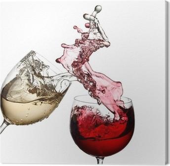 Tableau sur toile Vin rouge et blanc tous ensemble