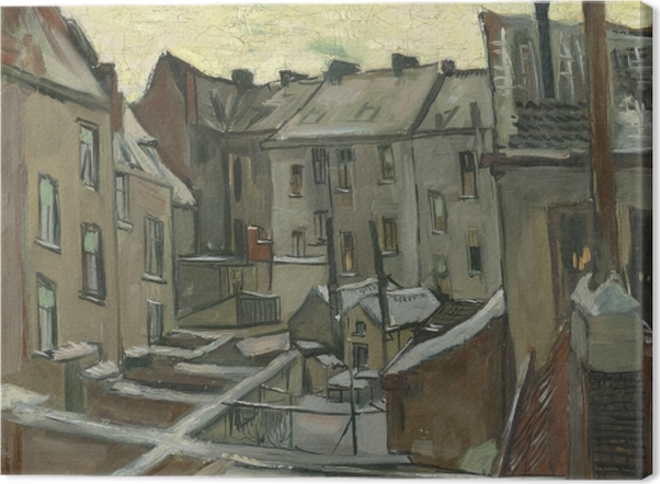 Tableau sur toile Vincent van Gogh - Arrière-cours des maisons anciennes à Anvers dans la neige - Reproductions