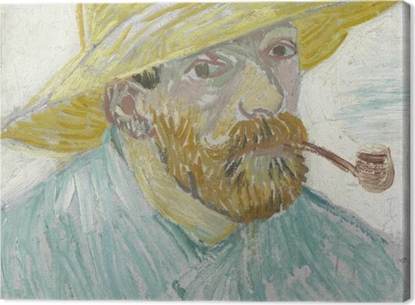 Tableau sur toile Vincent van Gogh - Autoportrait à la pipe et au chapeau de paille - Reproductions