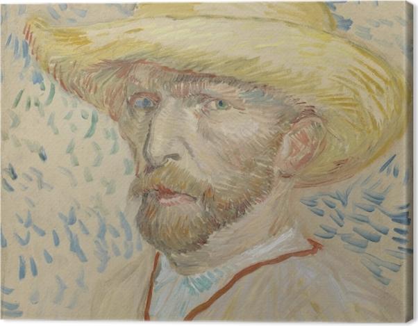 Tableau sur toile Vincent van Gogh - Autoportrait avec un chapeau de paille et sarrau de l'artiste - Reproductions