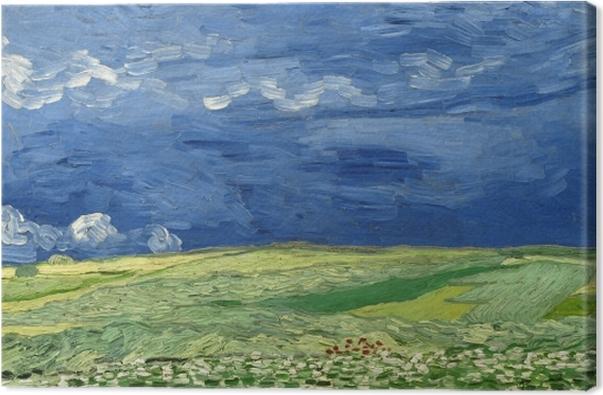 Tableau sur toile Vincent van Gogh - Champ de blé sous un ciel orageux - Reproductions