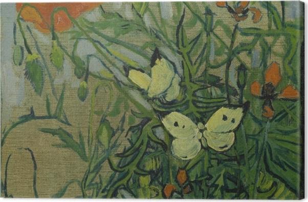 Tableau sur toile Vincent van Gogh - Coquelicots et papillons - Reproductions