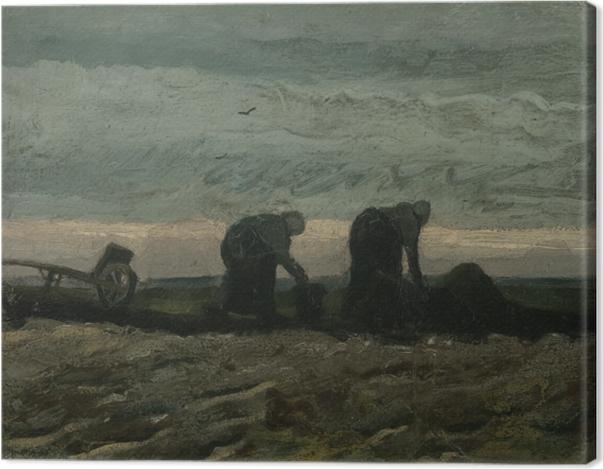 Tableau sur toile Vincent van Gogh - Deux Paysannes ramassant la tourbe - Reproductions