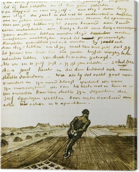 Tableau sur toile Vincent van Gogh - Homme tirant une herse - Reproductions