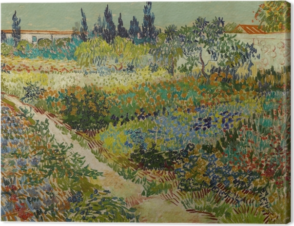 Tableau sur toile Vincent van Gogh - Jardin fleuri avec chemin - Reproductions