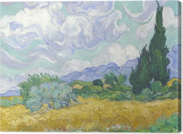Tableau sur toile Vincent van Gogh - Le Champ de blé vert avec cyprès - Reproductions