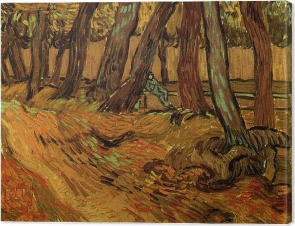 Tableau sur toile Vincent van Gogh - Le Jardin de Saint-Paul Hospital avec la figure - Reproductions