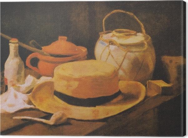 Tableau sur toile Vincent van Gogh - Nature morte avec chapeau de paille jaune - Reproductions