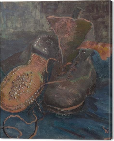Tableau sur toile Vincent van Gogh - Paire de souliers sur sol bleu - Reproductions