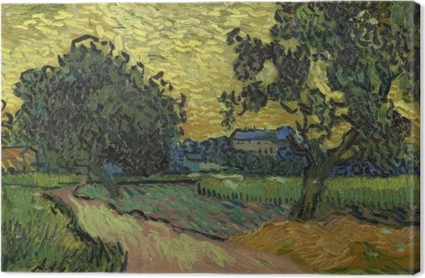 Tableau sur toile Vincent van Gogh - Paysage avec le château d'Auvers au coucher du soleil - Reproductions