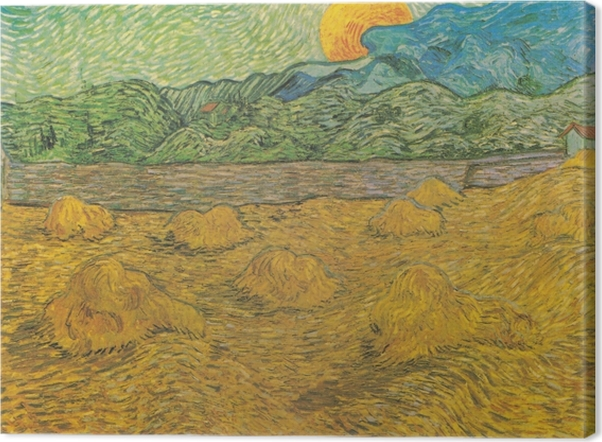 Tableau sur toile Vincent van Gogh - Paysage de Soirée avec Lune Montante - Reproductions