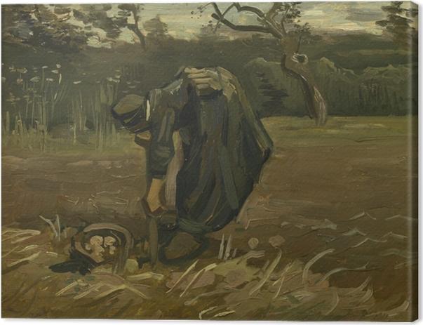 Tableau sur toile Vincent van Gogh - Paysanne arrachant des pommes de terre - Reproductions