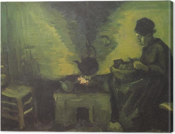 Tableau sur toile Vincent van Gogh - Paysanne près de l'âtre - Reproductions