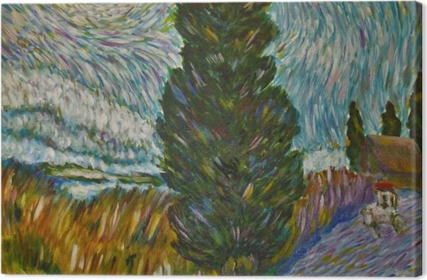 Tableau sur toile Vincent van Gogh - Route avec un cyprès et une étoile - Reproductions