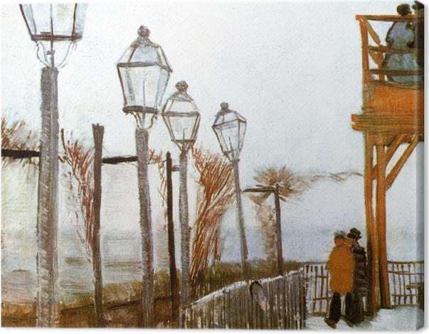 Tableau sur toile Vincent van Gogh - Terrasse et Observation Deck au Moulin de Blute-Fin, Montmartre - Reproductions