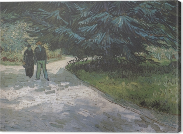 Tableau sur toile Vincent van Gogh - Un couple dans le parc avec des sapins bleus - Reproductions