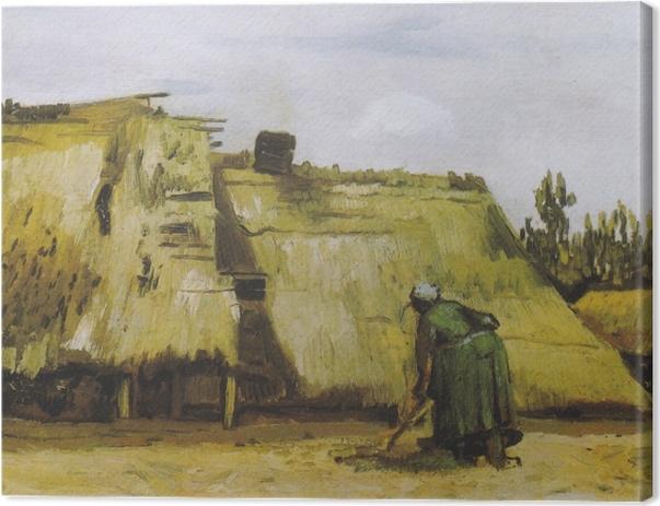 Tableau sur toile Vincent van Gogh - Une paysanne creuser devant son chalet - Reproductions
