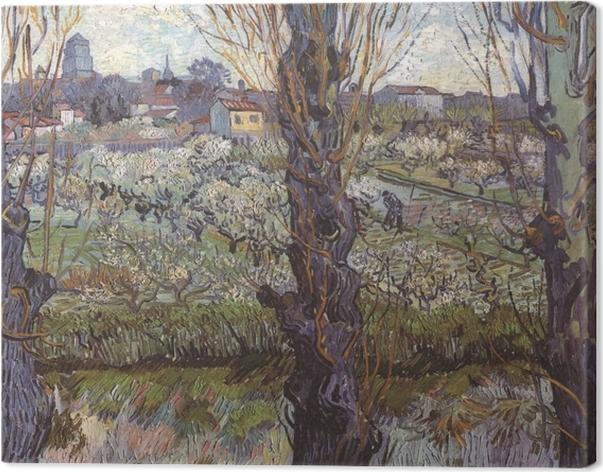 Tableau sur toile Vincent van Gogh - Verger en fleur avec vue d'Arles - Reproductions