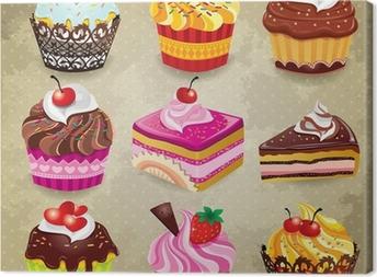 Tableau sur toile Vintage gâteau ensemble