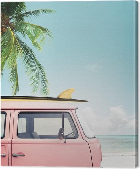 tableau sur toile vintage voiture stationn e sur la plage tropicale bord de mer avec une. Black Bedroom Furniture Sets. Home Design Ideas