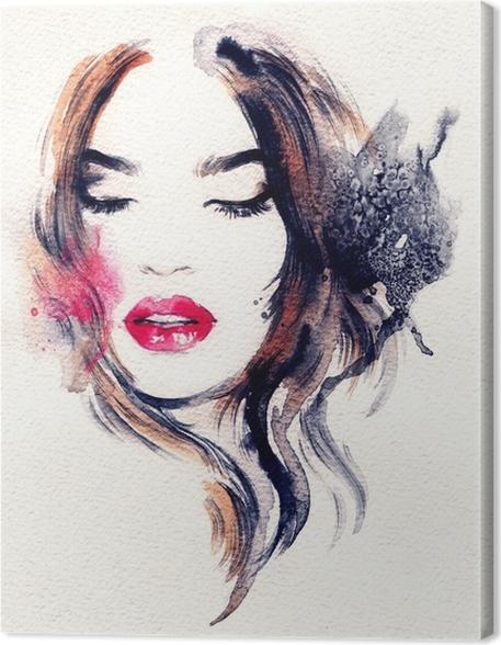 Tableau sur toile visage de femme abstraite illustration de mode la peinture l 39 aquarelle - Peinture sur visage ...