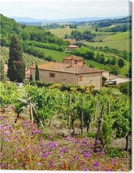Tableau sur toile Voir à travers les vignobles avec maison en pierre, Toscane, Italie