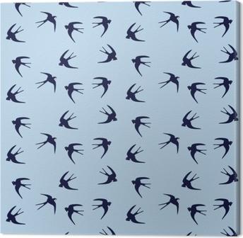 Tableau sur toile Volant avale troupeau d'oiseaux modèle sans couture d'oiseau