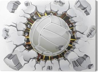 Tableau sur toile Volley-ball et le Vieux-dommages de la paroi de plâtre. Vector illustration