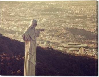 Tableau sur toile Vue aérienne de la statue du Christ regardant Stade Maracana